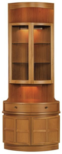 Nathan Bow Front Corner Unit   Teak   Cabinets U0026 Display Units   Hunter  Furnishing