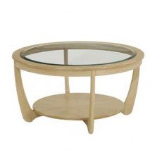 Nathan Shades Oak Glass Top Round Coffee Table