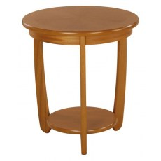 Large Sunburst Top Round Lamp Table  - Teak