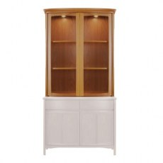 Shaped 2 Door Display Top Unit - Teak
