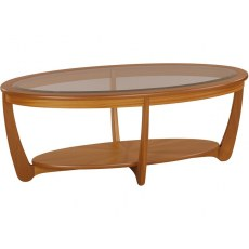 Glass Top Oval Coffee Table - Teak