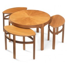 Sunburst Trinity Nest of 3 Tables - Teak