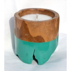 Teak Candle with Turquoise Band
