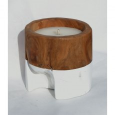 Teak Candle with White Band