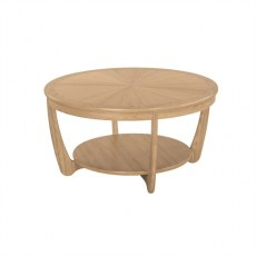Nathan Shades Oak  Sunburst Top Round Coffee Table
