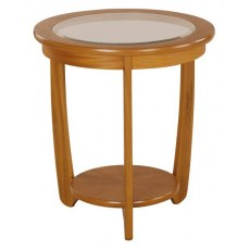 Glass Top Round Lamp Table   - Teak