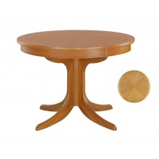 Circular Pedestal Dining Table with Sunburst Top - Teak