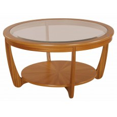 Glass Top Round Coffee Table - Teak
