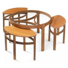 Glass Top Trinity Nest of 3 Tables - Teak