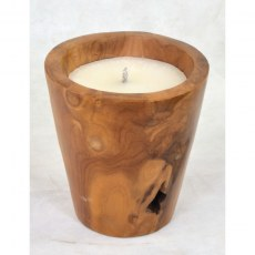 Outdoor Teak Bowl Candle