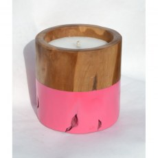 Teak Candle with Pink Band