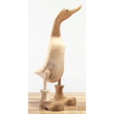 Natural Wooden Duck with Boots