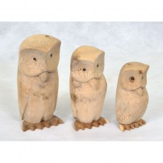 Set of 3 Natural Wood Owls