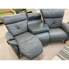 Himolla Swan Trapezoid 3 Seater Sofa with hidden table and 2 electric recliners & Armchair with manu
