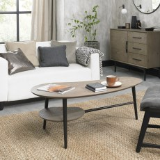 Loft Vintage Weathered Oak Shaped Coffee Table