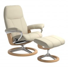 Stressless Consul Medium Signature Base Recliner with Stool SPECIAL OFFER