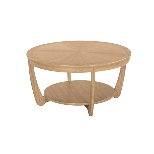 Nathan Nathan Shades Oak  Sunburst Top Round Coffee Table