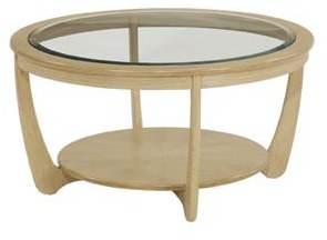 Nathan Nathan Shades Oak Glass Top Round Coffee Table