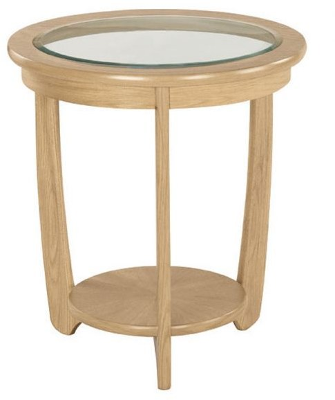 Nathan Nathan Shades Oak Glass Top Round Lamp Table