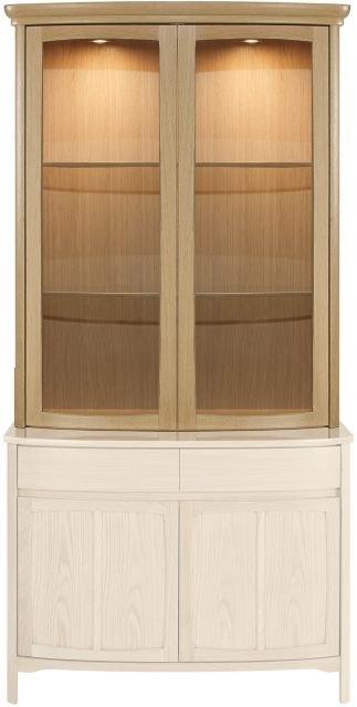 Nathan Shades Oak Shaped 2 Glass Door Display Top Unit Cabinets