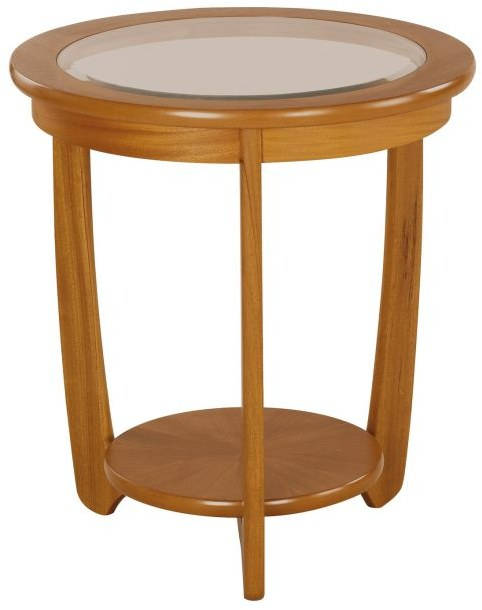 Nathan Glass Top Round Lamp Table   - Teak