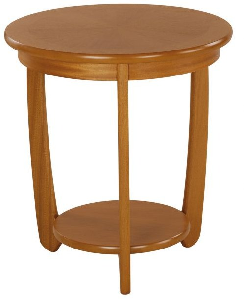 Nathan Large Sunburst Top Round Lamp Table  - Teak
