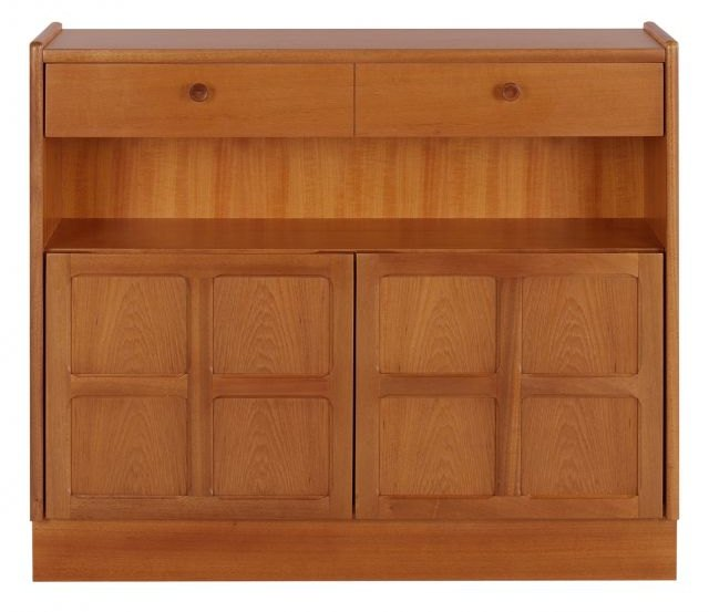 Nathan Low Bookcase with Doors   - Teak