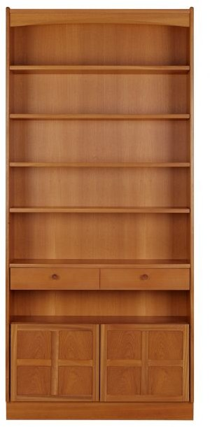 Nathan Tall Bookcase with Doors  - Teak
