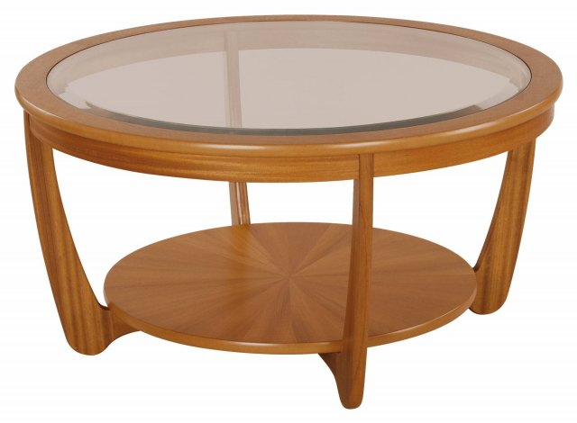 Nathan Glass Top Round Coffee Table - Teak