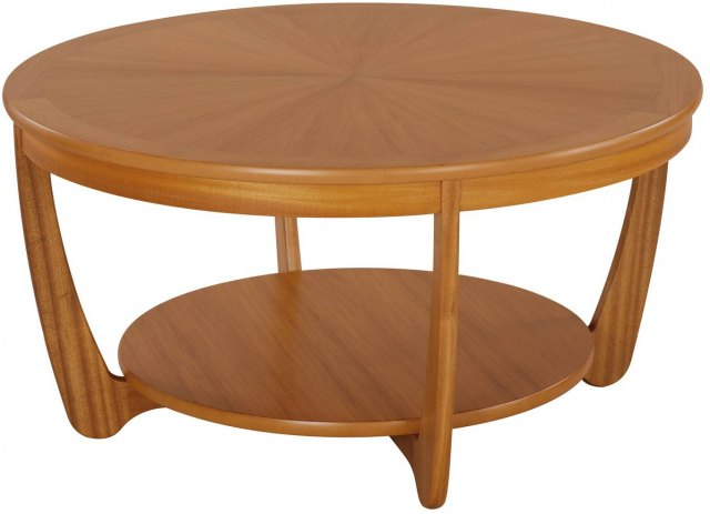 Nathan Sunburst Round Coffee Table - Teak