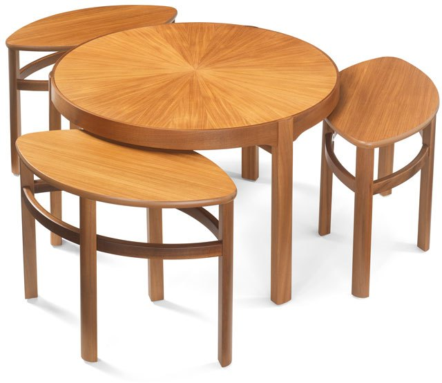 Nathan Sunburst Trinity Nest of 3 Tables - Teak