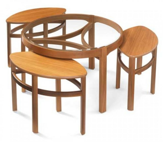 Nathan Glass Top Trinity Nest of 3 Tables Teak Coffee Tables