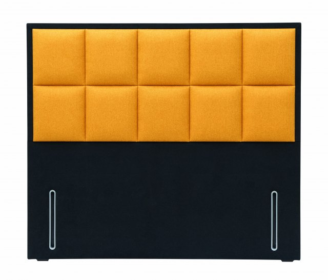 Hypnos Alexandra Headboard in euro-slim, Tweed 400 Mustard upholstered fabric and standard contrasti