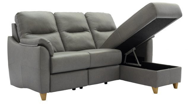 G Plan Spencer 3 Seater Chaise Sofa in Leather - Storage