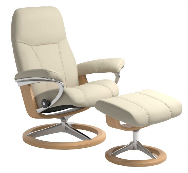 Stressless Stressless Consul Medium Signature Base Recliner with Stool SPECIAL OFFER